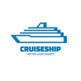 Cruise ship - vector logo template concept illustration. Marine sea liner sign. Design element Stock Photography