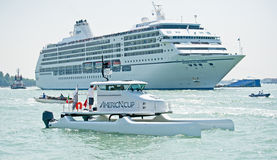 Cruise ship in Venice Lagoon. Stock Photo