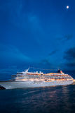 Cruise ship in Venice at moonlight stock images