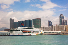 Cruise ship on Victoria harbor in Hong Kong Stock Image