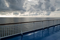 At cruise ship. View from deck of cruise ship to grey sea Royalty Free Stock Photography