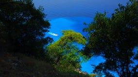 Cruise Ship. View of Lefkada, a green Ionian Greek Island, from a day cruise boat leaving Nidri Port, Lefkada island, Greece Stock Photo
