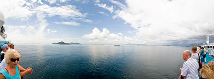 Cruise Ship View Panama Canal Pano Stock Photos