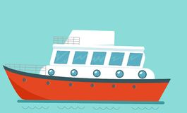 Cruise ship, view of a pleasure craft. In sea, vector illustration Stock Photo
