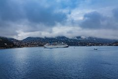 Cruise ship in Villefranche Harbor Royalty Free Stock Image