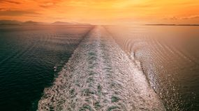 Free Cruise Ship Wake In Mediterranean Sea At Sunset - Travel Vacation Royalty Free Stock Photography - 145707167