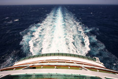 Cruise ship wake on the sea Royalty Free Stock Image