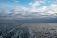 Cruise ship wake or trail on sea surface Royalty Free Stock Images