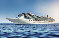 Cruise ship on the water. And blue sky Stock Photo