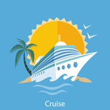 Cruise Ship. Water Tourism. Cruise ship in clear blue water with palm tree. Water tourism. Icons of traveling, planning summer vacation, tourism. For web banners Royalty Free Stock Photo