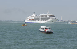 Cruise ship in water of Venice. Italy. Cruise ship in water of Venice, Italy Royalty Free Stock Photography