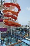 Cruise Ship Waters Slide and Pool Stock Image
