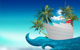 Cruise ship on a wave Royalty Free Stock Image