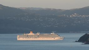 Cruise ship in Wellington NZ stock footage