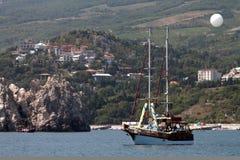 Cruise ship wit baloon Royalty Free Stock Image