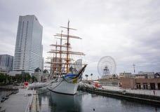 Cruise ship at Yokohama, Japan. Yokohama, Japan - Nov 5, 2014. A traditional cruise ship docking at downtown in Yokohama, Japan. Yokohama is located Stock Images