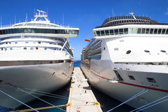 Cruise Ships. Moored at a dock Royalty Free Stock Photography