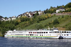 Cruise ships. Are on the Moselle by Cochem n Germany Royalty Free Stock Photo