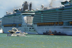 Cruise Ships. Getting ready to depart Stock Photography