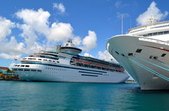 Cruise Ships. Moored at piers in Nassau,Grand Bahamas stock photo