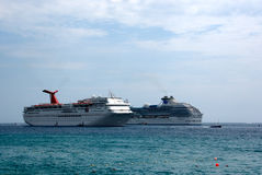 Cruise Ships. Two anchored cruise ships side by side Stock Photography