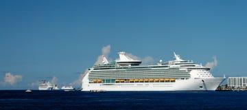 Cruise Ships. Cruiseships anchoring in a caribbean bay Royalty Free Stock Photos