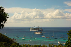 Cruise ships at anchor in the caribbean Stock Photo