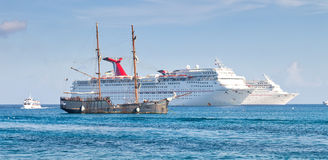 Cruise Ships Anchored in Grand Cayman Stock Photo