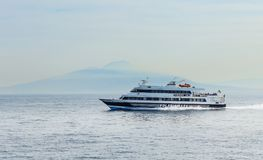 Cruise ships, Bay of Naples, Sorrento,. Italy royalty free stock images