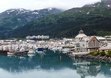 Cruise ships are big business for the Alaskan own of Whittier. Alaskan town of Whittier is a tourism hub Royalty Free Stock Photo