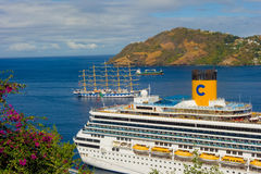 Cruise ships calling at kingstown port in the windward islands Stock Photos
