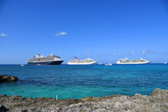 Cruise Ships in Cayman Islands Royalty Free Stock Photography