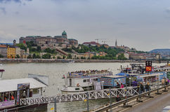 Cruise ships on the Danube in Budapest Stock Photography