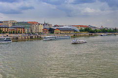 Cruise ships on Danube stock photos