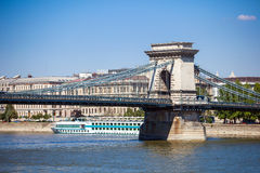 Cruise ships on Danube river in Budapest Stock Image