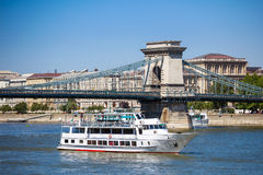 Cruise ships on Danube river in Budapest Stock Images