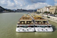 Cruise ships on the Danube river, Budapest royalty free stock photos