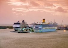 Cruise ships at dawn Royalty Free Stock Image