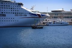 Cruise ships in the Deepwater Harbour on the island of Rhodes stock photos
