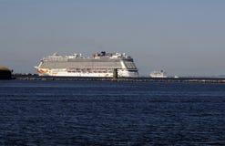 CRUISE SHIPS DEPART COPENHAGEN PORT Stock Photos