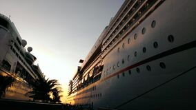 Cruise Ships at Dock Stock Images
