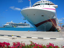 Cruise Ships docked in Harbour Stock Images