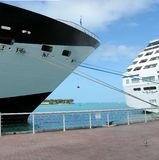 Cruise ships. Docked at Key West, Florida royalty free stock images