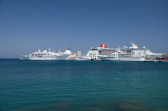 Cruise ships docked in port royalty free stock images