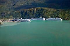 Cruise Ships Docking at Alaska. Cruise Ships Docking at Skagway, Alaska - aerial view Stock Photos