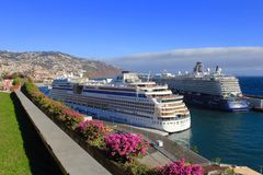 Cruise ships in Funchal, madeira royalty free stock image