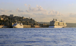 Cruise ships in Golden Horn bay,Istanbul,Turkey. Royalty Free Stock Photography