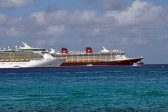 Cruise ships in the harbor on Grand Cayman royalty free stock photo