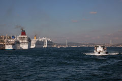 Cruise Ships at Istanbul Royalty Free Stock Photography
