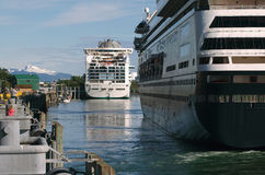 Cruise Ships In Juneau, Alaska Royalty Free Stock Photos